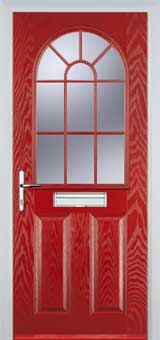 2 Panel Sunburst Composite Front Door in Red