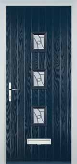 3 Square Abstract Composite Front Door in Blue