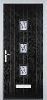 3 Square Abstract Composite Front Door in Black