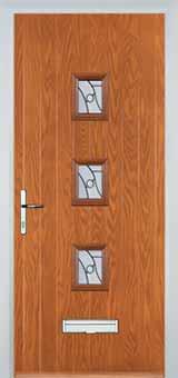 3 Square Abstract Composite Front Door in Oak