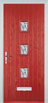 3 Square Abstract Composite Front Door in Red