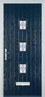 3 Square Elegance Composite Front Door in Blue