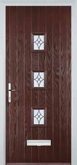 3 Square Elegance Composite Front Door in Darkwood