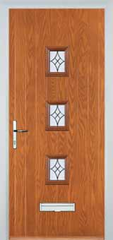 3 Square Elegance Composite Front Door in Oak