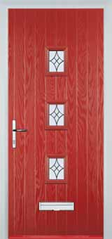3 Square Elegance Composite Front Door in Red