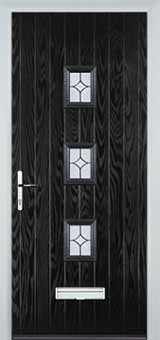 3 Square Flair Composite Front Door in Black