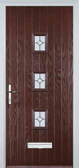 3 Square Flair Composite Front Door in Darkwood