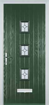 3 Square Flair Composite Front Door in Green