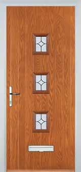 3 Square Flair Composite Front Door in Oak