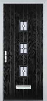 3 Square Finesse Composite Front Door in Black