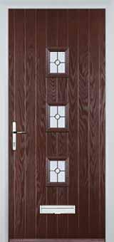 3 Square Finesse Composite Front Door in Darkwood
