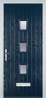 3 Square Glazed Composite Front Door in Blue