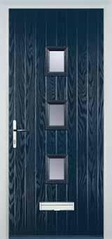 3 Square Glazed Composite Front Door in Blue