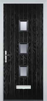 3 Square Glazed Composite Front Door in Black