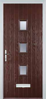 3 Square Glazed Composite Front Door in Darkwood