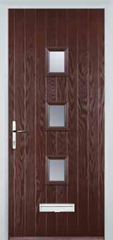 3 Square Glazed Composite Front Door in Darkwood