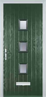 3 Square Glazed Composite Front Door in Green