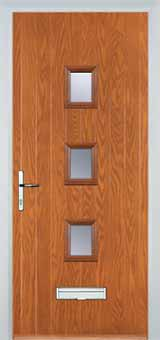 3 Square Glazed Composite Front Door in Oak