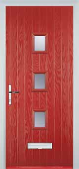 3 Square Glazed Composite Front Door in Red