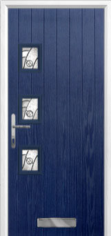 3 Square (off set) Abstract Composite Front Door in Blue