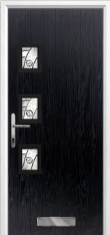 3 Square (off set) Abstract Composite Front Door in Black
