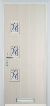 3 Square (off set) Abstract Composite Front Door in Cream