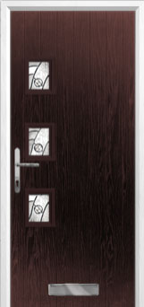 3 Square (off set) Abstract Composite Front Door in Darkwood