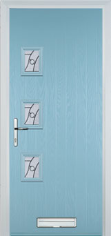 3 Square (off set) Abstract Composite Front Door in Duck Egg Blue