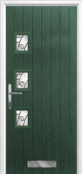 3 Square (off set) Abstract Composite Front Door in Green