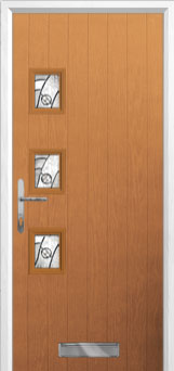 3 Square (off set) Abstract Composite Front Door in Oak
