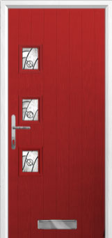 3 Square (off set) Abstract Composite Front Door in Red
