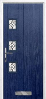 3 Square (off set) Elegance Composite Front Door in Blue