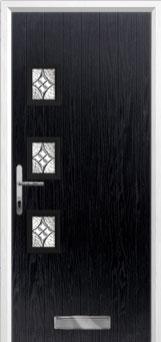 3 Square (off set) Elegance Composite Front Door in Black