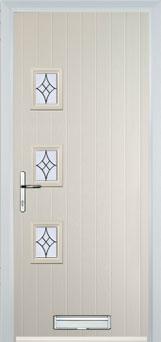 3 Square (off set) Elegance Composite Front Door in Cream