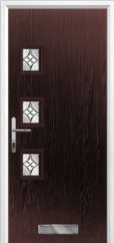 3 Square (off set) Elegance Composite Front Door in Darkwood
