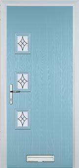 3 Square (off set) Elegance Composite Front Door in Duck Egg Blue