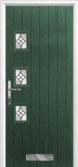 3 Square (off set) Elegance Composite Front Door in Green