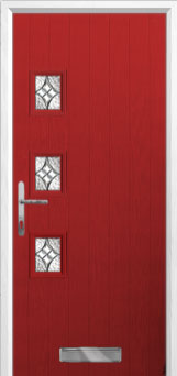 3 Square (off set) Elegance Composite Front Door in Red