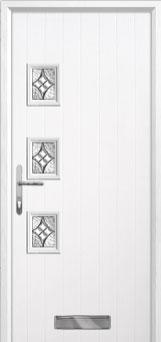 3 Square (off set) Elegance Composite Front Door in White