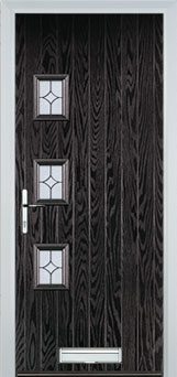 3 Square (off set) Flair Composite Front Door in Black Brown