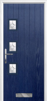 3 Square (off set) Flair Composite Front Door in Blue