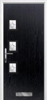 3 Square (off set) Flair Composite Front Door in Black