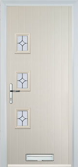 3 Square (off set) Flair Composite Front Door in Cream