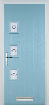 3 Square (off set) Flair Composite Front Door in Duck Egg Blue