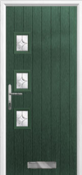 3 Square (off set) Flair Composite Front Door in Green