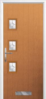 3 Square (off set) Flair Composite Front Door in Oak