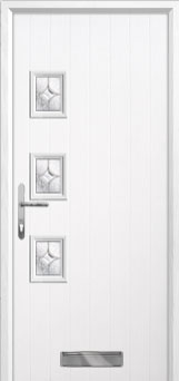 3 Square (off set) Flair Composite Front Door in White