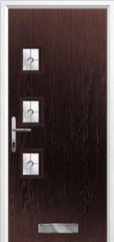 3 Square (off set) Finesse Composite Front Door in Darkwood