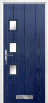 3 Square (off set) Glazed Composite Front Door in Blue