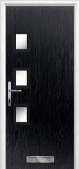 3 Square (off set) Glazed Composite Front Door in Black